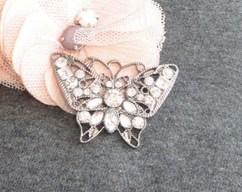 pure vintage silver Butterfly pendant and rhinestone 45 x 30 mm