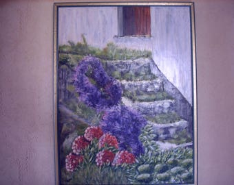 Abandonment. Representation of a staircase of an abandoned house