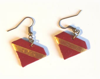 Earrings • geometric Style Diamond Red and gold