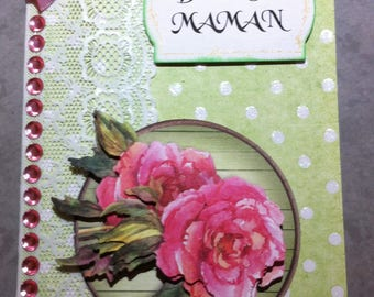 Card happy birthday MOM rose pink and green 3D