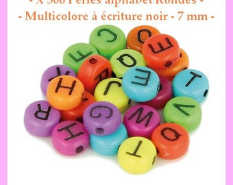 Alphabet beads round - colored with black writing - 7 mm - approximately 300 pcs - new