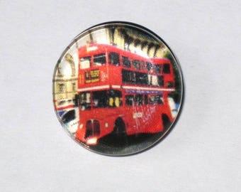 """London Bus"" London snap button, size L"