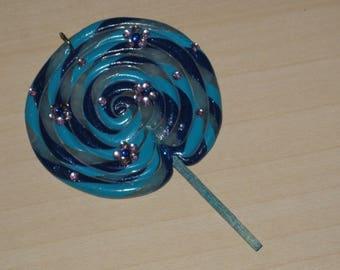 Large blue lollipop pendant