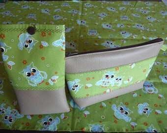 Kit + 'OWL' made handmade glasses case, faux taupe OWL print.