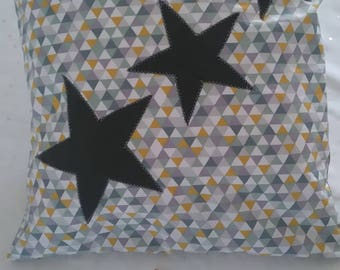 Pillow + cover patterns stars - 40 x 40 cms - shades of grey, yellow