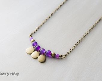 Necklace drops plum jade and brass pendants