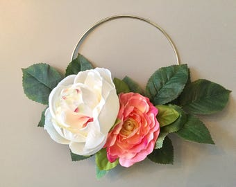White & Pink Peony Floral Silver Metal Wreath 6 inches