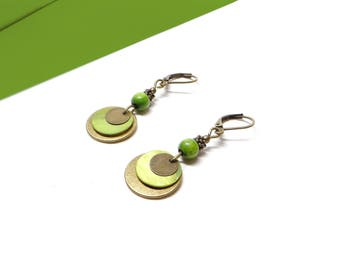 Earrings bronze and green wood beads
