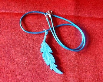 Blue sequined turquoise feather necklace