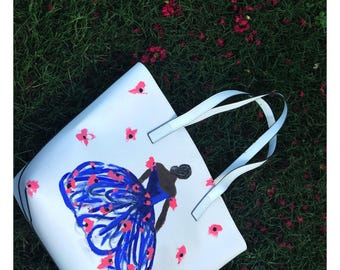 Hand painted couture fashion bag