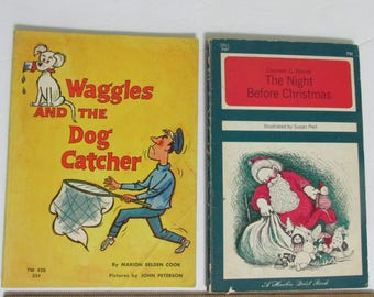 Vintage 1960's Childrens Books Waggles Dog Catcher & Night Before Christmas