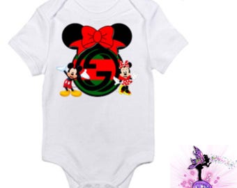 Red and Green Gucci Mickey Mouse Baby Onesie | Babyshower Gift | First Birthday Outfit | Christmas | Disney | Designer Inspired