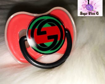 Red Gucci Pacifier | Custom Baby Pacifier | Baby | Designer Inspired | Gucci Binky | Customized Pacifier/Binky