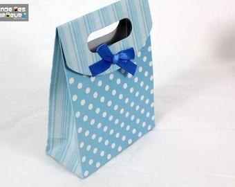 1 gift bag blue polka dot paper and satin ribbon