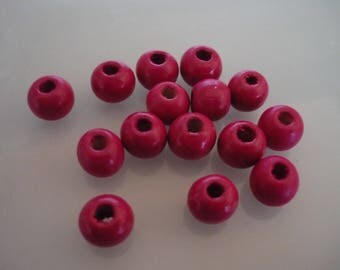 35 pink wood beads 10 mm round
