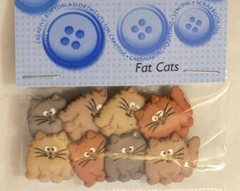 8 novelty buttons - cats.