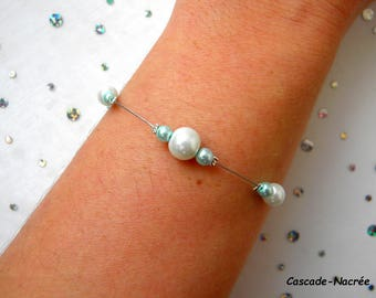 Flower turquoise Ines Silver White Pearl wedding bridal bracelet