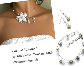 Bridal flower JULINE silver white Crystal Pearl bridal set