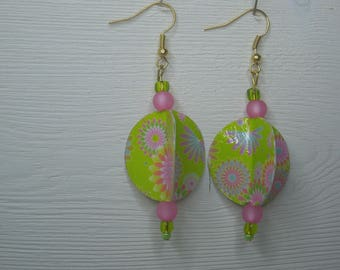 Earrings round girly, pink and green