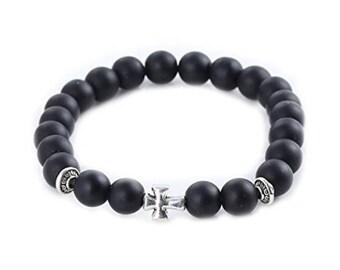 Polished black Obsidian Beads Bracelet with cross-