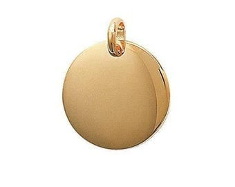 Round engraved medal pendant customize plated gold 20 mm