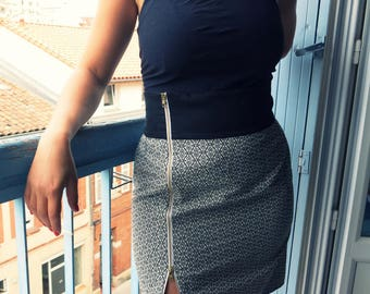 Vintage black and white high waist skirt