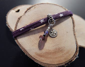 Bracelet purple beads and metal