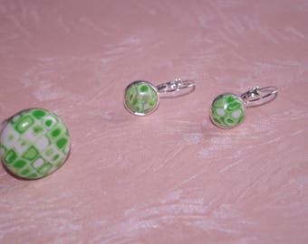 ring and polymer clay tile earrings set