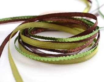 Green and Brown 3mm organza and satin ribbons