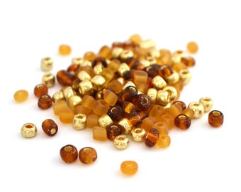 10 g large seed beads 6/0 Gold brown orange glass 4mm / MPERRO028