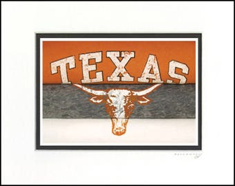 Texas Longhorns Vintage Sports Art