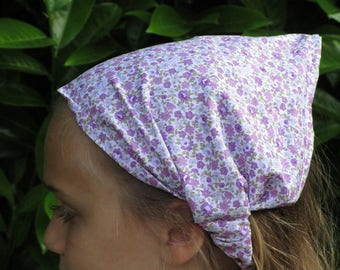 kerchief / scarf in purple and mauve flowers printed cotton
