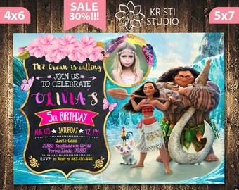 Moana Invitation - Moana Invitation With Picture - Moana Photo Invitation - Moana Birthday Invitation - Moana Girl Party - Moana Printable