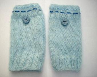 Blue fingerless gloves, handmade, original
