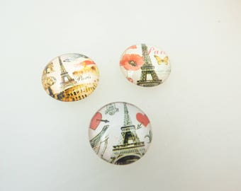 3 cabochons 20 MM Eiffel Tower Paris