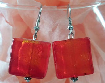 """Glass squares"" costume jewelery earrings red orange"