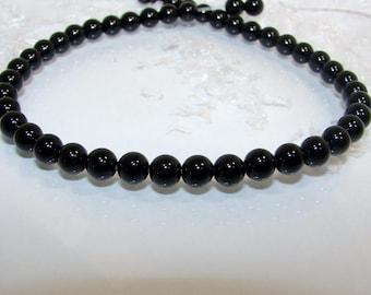 Round 6 mm black Agate onyx bead. Semi-precious stones.