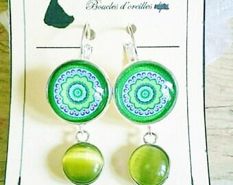 Green earrings with pendants