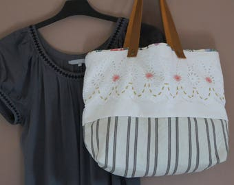 Tote bag, cotton and lace, recycled textile
