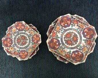 Exquisite set of 8 Japanese Imari plates