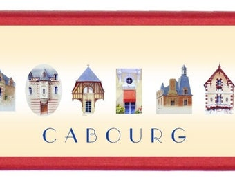 """Box-pencil case red adorned with """"Villas de Cabourg"""", published by the artist Martin deMEZERAC"""