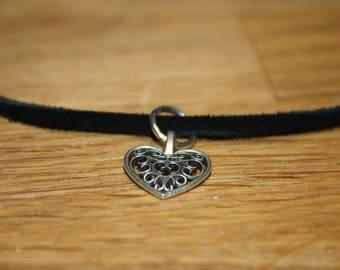 Heart Pendant Leather Choker