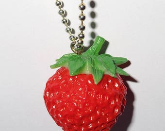 Delicious large ripe strawberry necklace