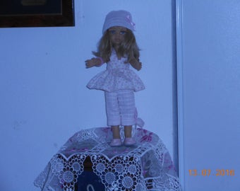 """3 pieces set in pink and white fabric for Doll """"paola reina"""" 32 cm"""