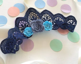 Navy Lace Crown