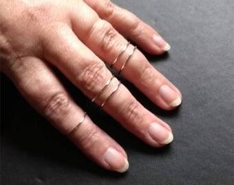 5 Knuckle Silver Rings, Midi rings, Knuckle rings, Silver knuckle rings, Knuckle ring set, Stackable rings, Silver ring, Adjustable ring