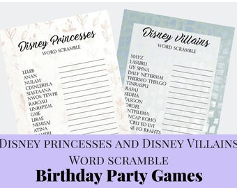 Disney Princesses and Disney Villains Word Scramble Birthday Party Games For Kids