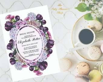 Bridal Shower Invitation With Watercolor Flowers, Party Invitation, Watercolor Peonies Printable Invitation DIGITAL FILES