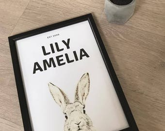 A4 Personalised Rabbit Print