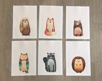 A4 Set Of 3 Woodland Nursery Prints